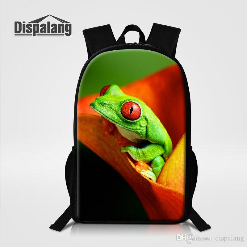 16 Inch Larger Backpacks For Middle School Mochila Zoo Animal Polypedatid Lizard Students Schoolbags Rucksack Bagpacks Cute Dolphin Bookbags