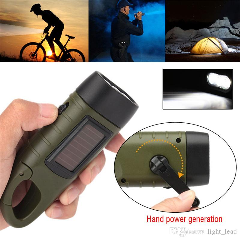 Emergency Flashlight Hand Crank Dynamo Solar Rechargeable led light Charging Powerful Torch For Outdoor Camping lighting