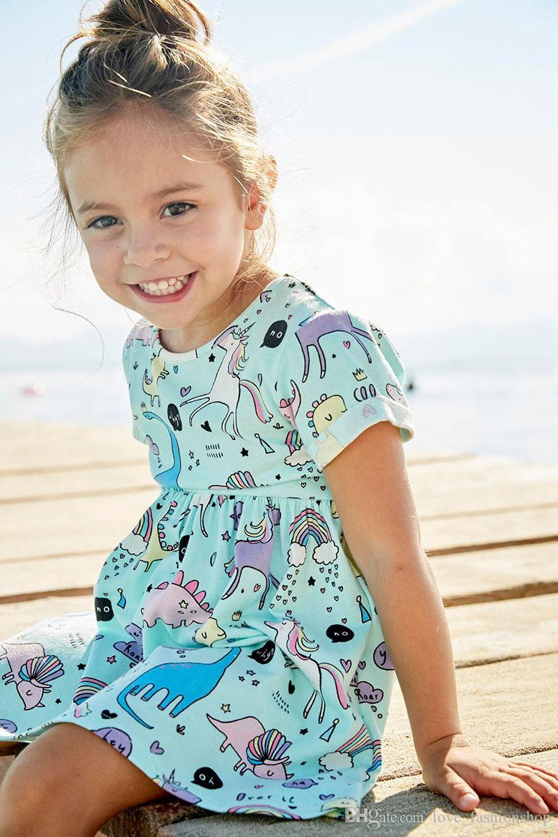 Detaljhandel bebis tjejer tecknad unicorn tryckt bomull klänning halloween cosplay sommar barn kortärmad pläterad prinsessa klänningar barn tyg
