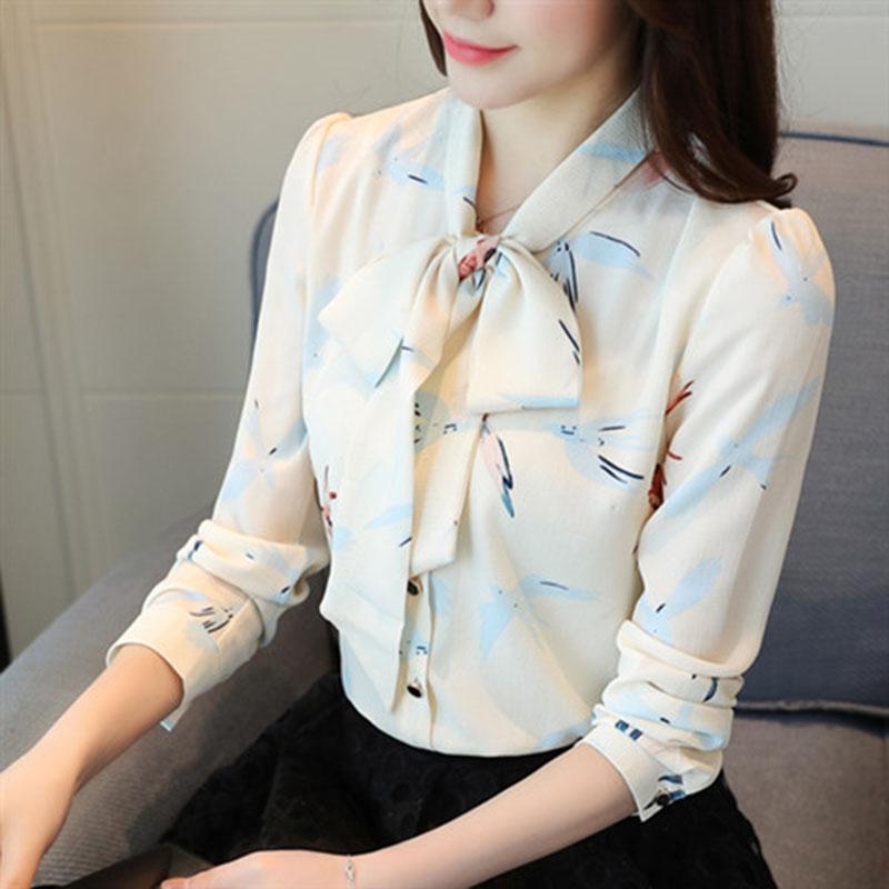Ufficio del lavoro di usura chiffoni delle donne camicette stile Primavera Estate camice della signora Casual maniche lunghe Papillon Blusas Tops DF1900