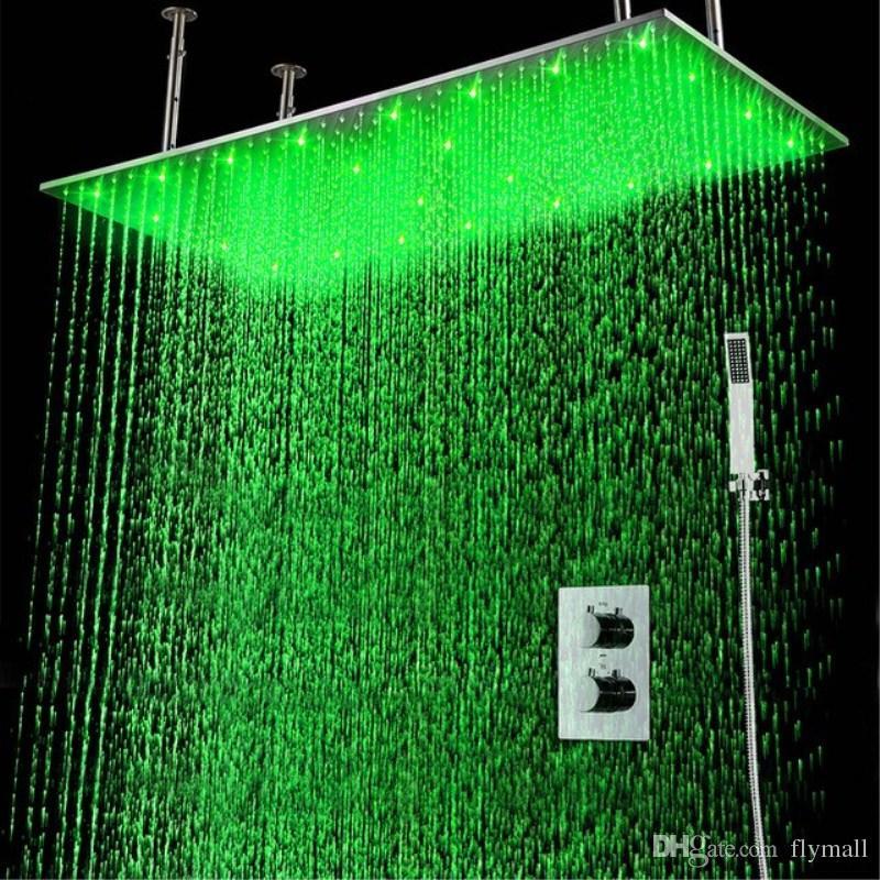 """2Jets 숨겨진 온도 조절 샤워 세트 벽 20 """"* 40""""욕실 강우량 핸드 샤워 헤드와 LED 샤워 헤드"""