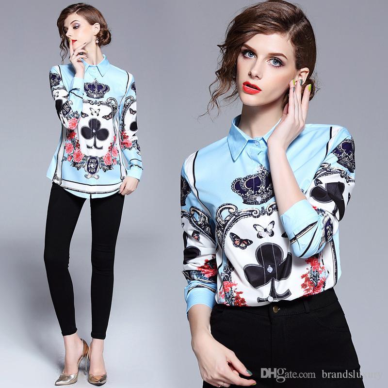 2018 Piste De Luxe Baroque Couronne Imprimer Arc Femmes Casual Bureau Bouton Avant Revers Cou À Manches Longues Top Shirt Blouse Nouvelle Arrivée En Gros