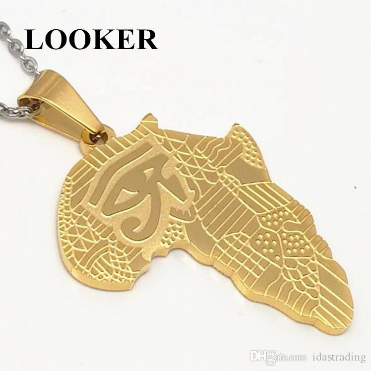 LOOKER Africa Necklace Gold Color Pendant & Chain African Map Hiphop Gift for Men/Women Ethiopian Jewelry Trendy Wholesale