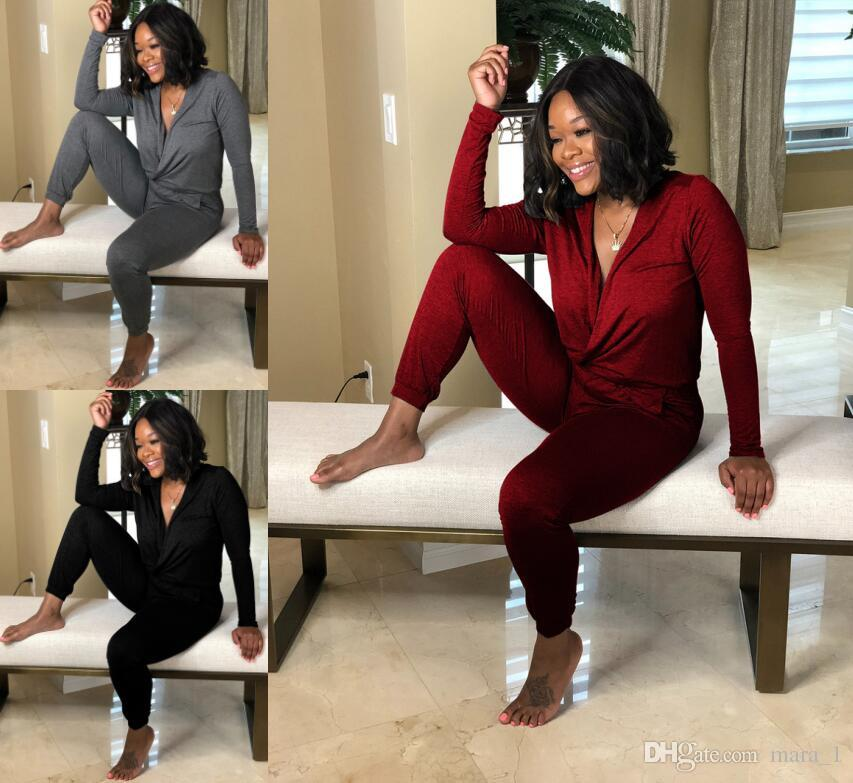 Women long sleeve Jumpsuit Rompers Capris Deep V neck Sexy Overalls Bodysuit Designer women fall clothes Black grey red S-2XL DHL