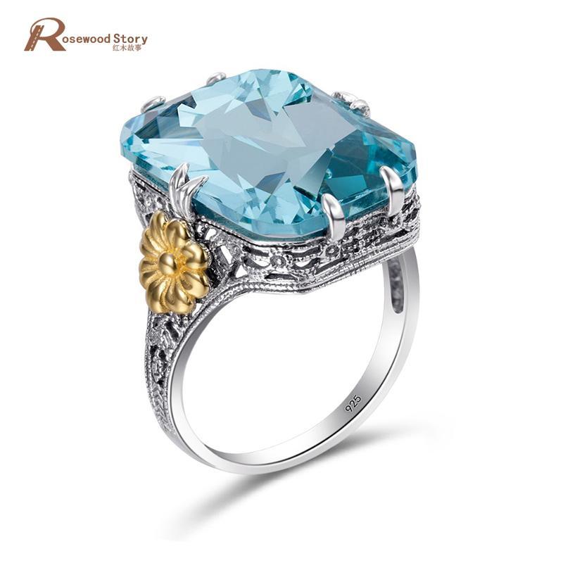 Mode 925 Sterling Silber Ringe Gold Farbe Blume Sky Blue Kristall Verlobungsring Für Frauen Hochzeit Schmuck Birthstone Ringe Y1892705