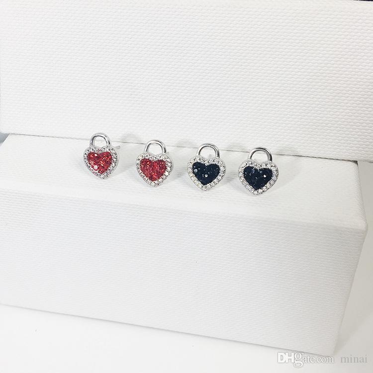 New Korean Japan Tide Lovely Heart-shaped Lock Temperament Stud Earrings Sterling Silver 925 Gift Cute Small Earings