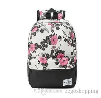 Sacs à dos de fleurs Floral Print Bookbags Toile Sac à dos Sac d'école Pour les filles Sac à dos Voyage Femme Sac à dos