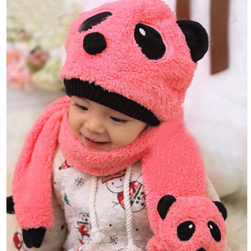 Children Winter Warm Hat Caps Infant Baby Super Cute Warm Wool Knitted Panda Cap Match Scarf Hat Set Newborn Cartoon Beanie Caps