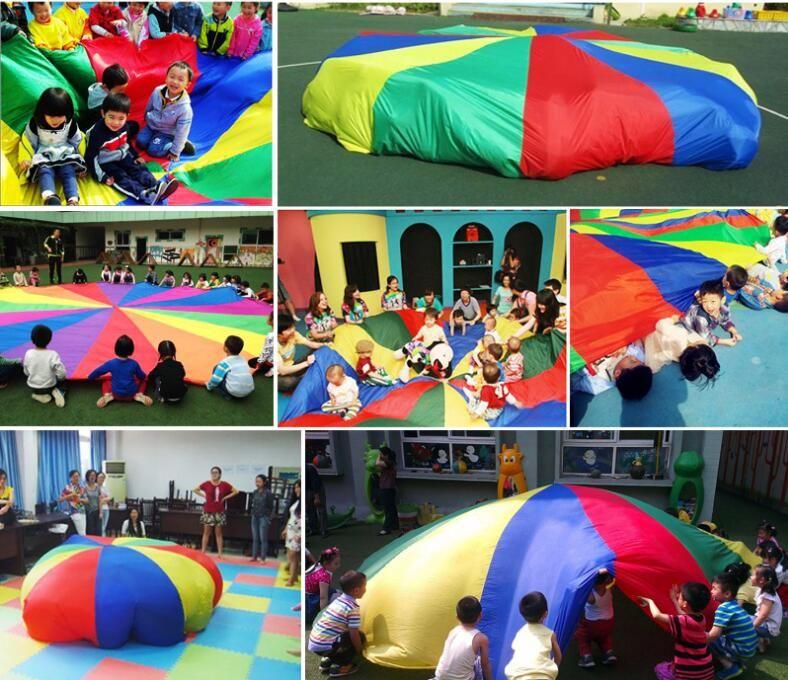 Children Kids Play Parachute Rainbow Umbrella Parachute Toy Outdoor Game Exercise Sport Toyg outerdoor Activity Toy 2M/3M/3.6M/4M/5M/6M