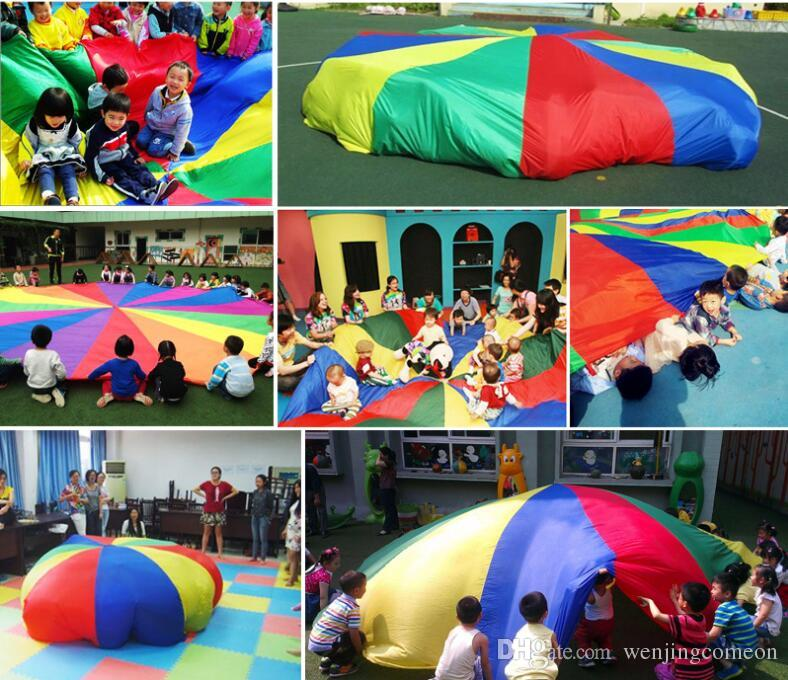 Children Kids Play Parachute Rainbow Umbrella Parachute Toy Outdoor Game Exercise Sport Toyg outerdoor Activity Toy 2M/3M/3.6M/4M/5M/6M