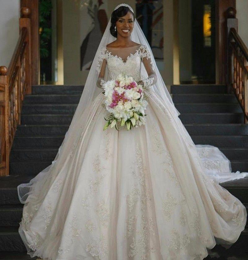 Dedi Mhamad Dantel Balo Gelinlik 2018 Payetli Boncuklu Uzun Illusion Kollu Aplike Gelinlik Gelin Törenlerinde Vestidos De Noiva