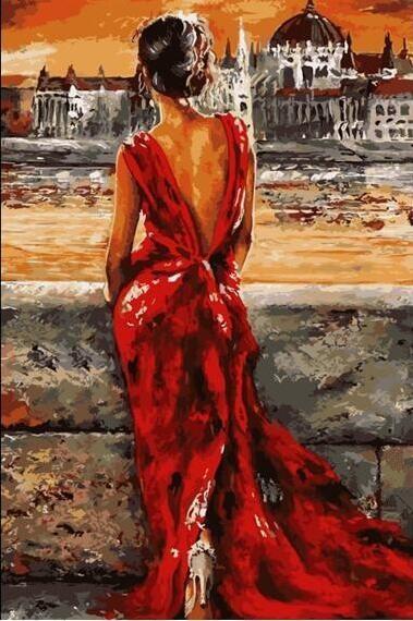 Pintura al óleo de bricolaje por números cuadro de la lona para colorear pintura del cuerpo de pintura de acrílico caligrafía por número decoración de la pared chica