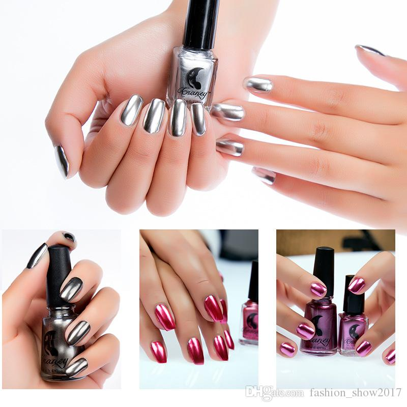 Craney Brand 6ml Mirror Nail Polish Plating Silver Paste Metal Color Stainless Steel Mirror Silver Nail Polish for Nail Art