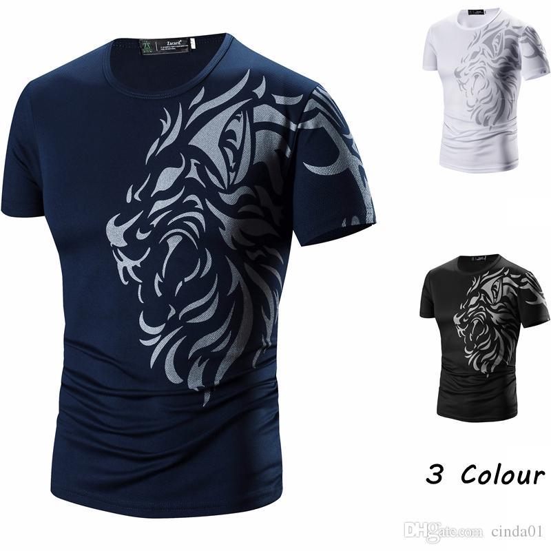 Татуировка Printed Короткие рукава Экипаж шеи мужчин футболки Summer Casual Wear Daily Одежда Черный Белый Синий