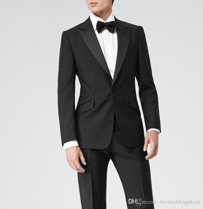 2018 Men Suits Black Peaked Lapel Wedding Suits Evening Dress Bridegroom Groom Custom Made Slim Fit Tuxedo Best Man Blazer Prom Party 2Piece