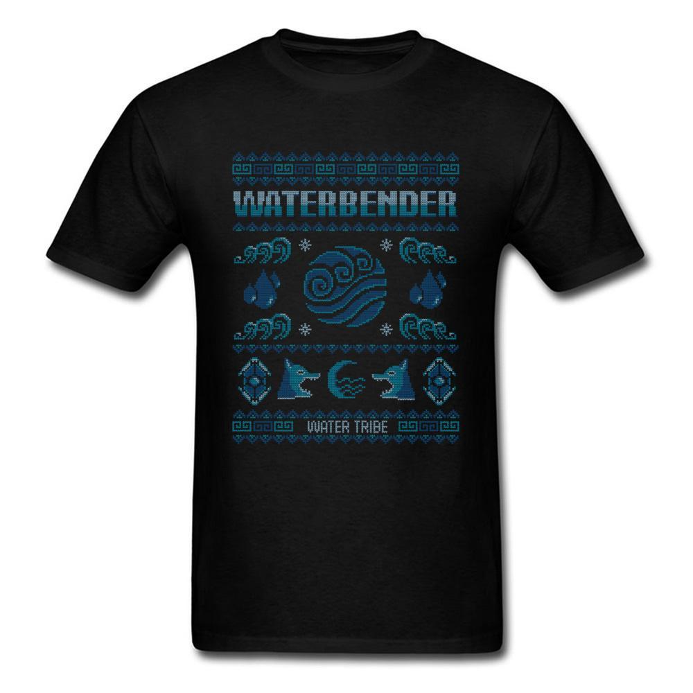 Water Tribe Sweater Pattern T-shirt Men Blue Tops Black Tee Summer Cold Style Clothing Cotton T Shirt Christmas Cartoon Tshirt