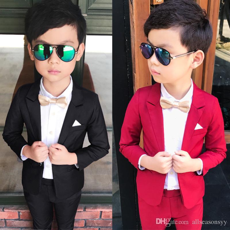 Wedding Boy Dress blazer pant Child Suit Color red and black, Gentle slim Baby Boy costume School Performance show Kid Suit