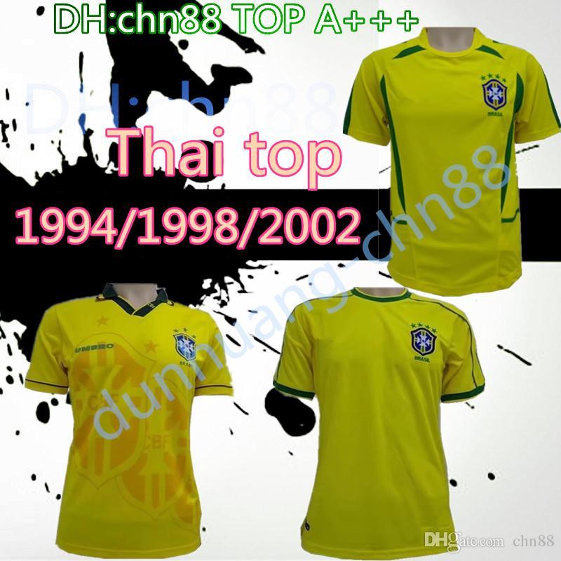 1994 1998 2002 브라질 홈 유니폼 93 94 98 02 Brasil 레트로 클래식 셔츠 Carlos Romario Ronaldo Ronaldinho 저지 camisa de futebol