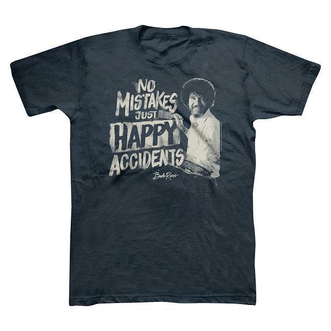 Боб Росс без ошибок, просто счастливые несчастные случаи мужская футболка-темно-синий-выбрать размер