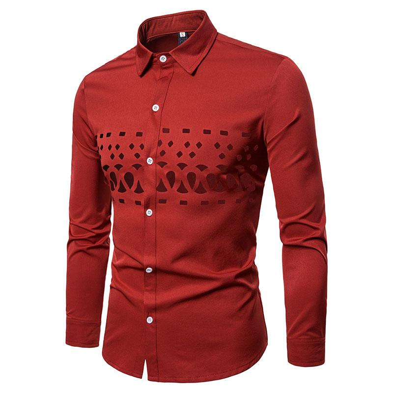Springautumn Gömlek Erkekler delik Düğme Düzensiz Erkekler Uzun Kollu Camisa Masculina Erkek Slim Fit Gömlek