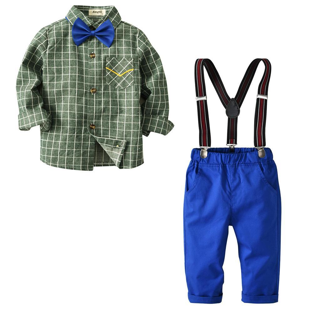 Baby Herr Outfit Anzüge, Baby Langarm-Shirt + Bib Pants + Fliege Overall Kind-Junge-Kleidung eingestelltes