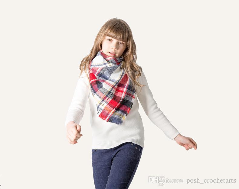 Kinder Winter Schal Mode Design Gitter Dreieck Fichu Kinder Herbst Baumwolle Schals Quaste Zubehör Geburtstagsgeschenk