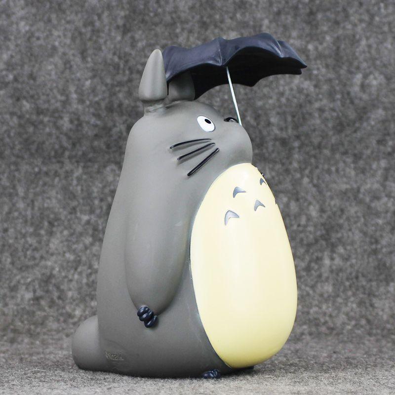 صديقة للبيئة 20 سنتيمتر هاياو ميازاكي جارتي totoro مع مظلة pvc عمل الشكل النادرة نموذج لعبة أصبع البنك