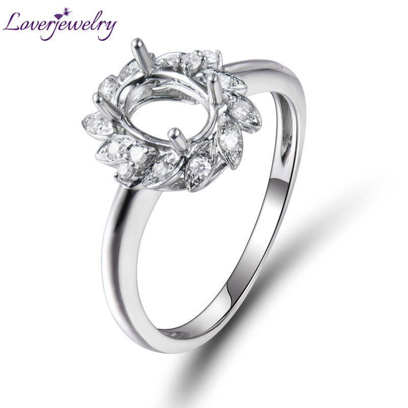 18K White Gold SI Clarity Diamond 5X7mm Oval Cut Semi Mount Engagement Wedding Ring WU0168 S923