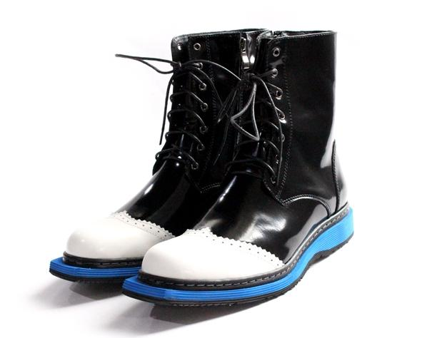 ch.kwok Half Boots lace-up zipper blue white and black calfskin flat-bottomed Martin boots british style men boots