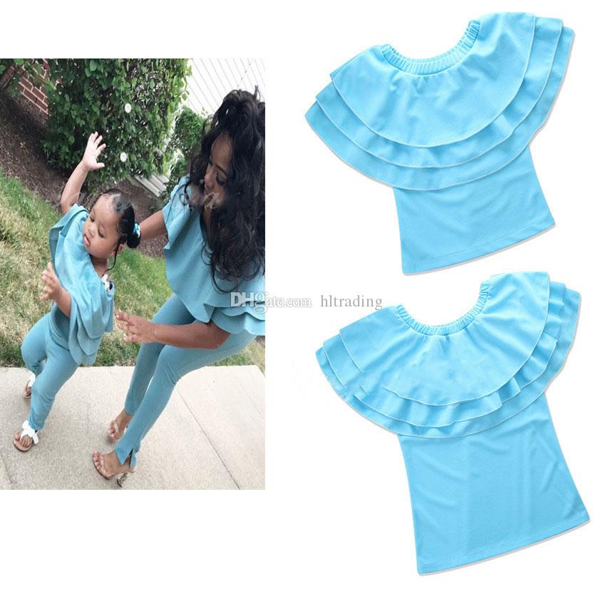 Family matching clothing Mother and daughter Off Shoulder T-shirts Lotus leaf collar Tops 2018 new Mother's Day Tees C3607