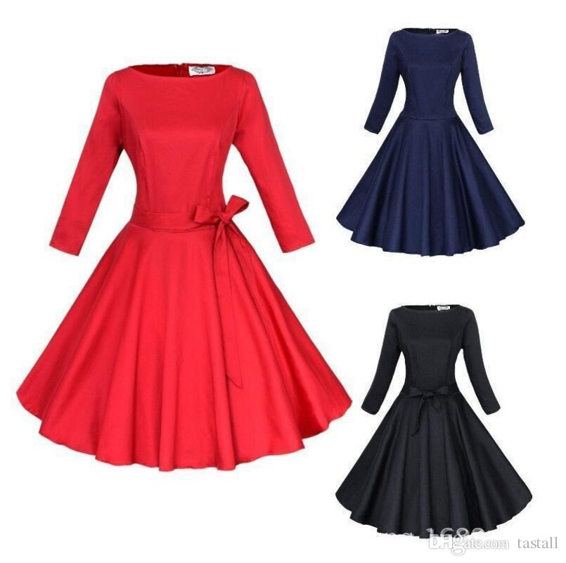 Women Pinup Vintage 50s Retro Rockabilly Club Dress Plus Size Party Dresses  Long Three Quarter Sleeve Black Ball Gown Dress White Dress With Flowers ...