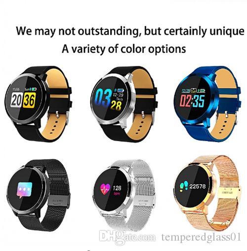 New Q8 OLED Bluetooth Smart Watch Stainless Steel Waterproof Wearable Device Smartwatch Wristwatch Men Women Fitness Tracker VS DZ09 Z60 Y1