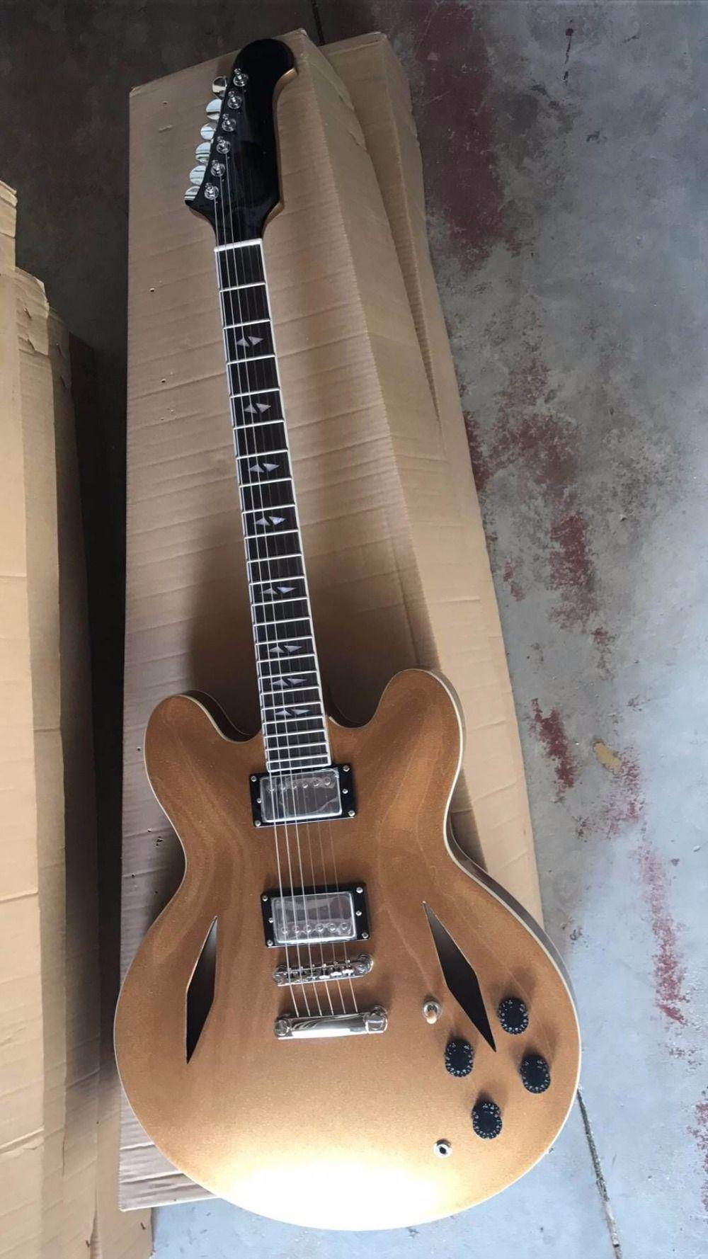 Spedizione gratuita! Nuovo arrivo Dave Grohl chitarra DG 335 Guitarra elettrica Goldtop stile jazz fori di diamante in oro 170920