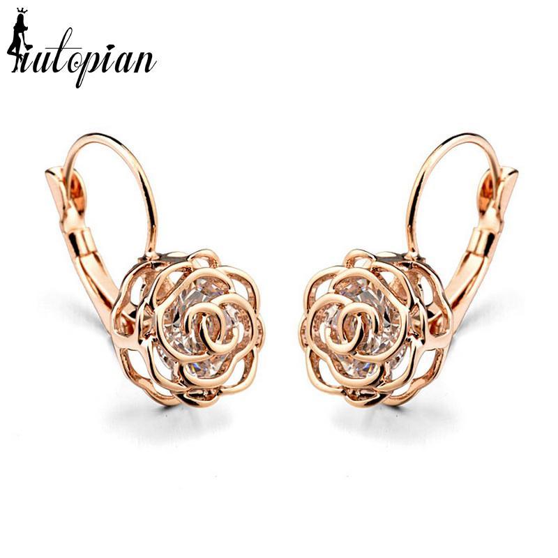 Boucle d'oreille en Iutopian 2019 Fleur Rose élégante Boucle d'oreille en alliage Brincos avec l'environnement anti-allergie # RG86713