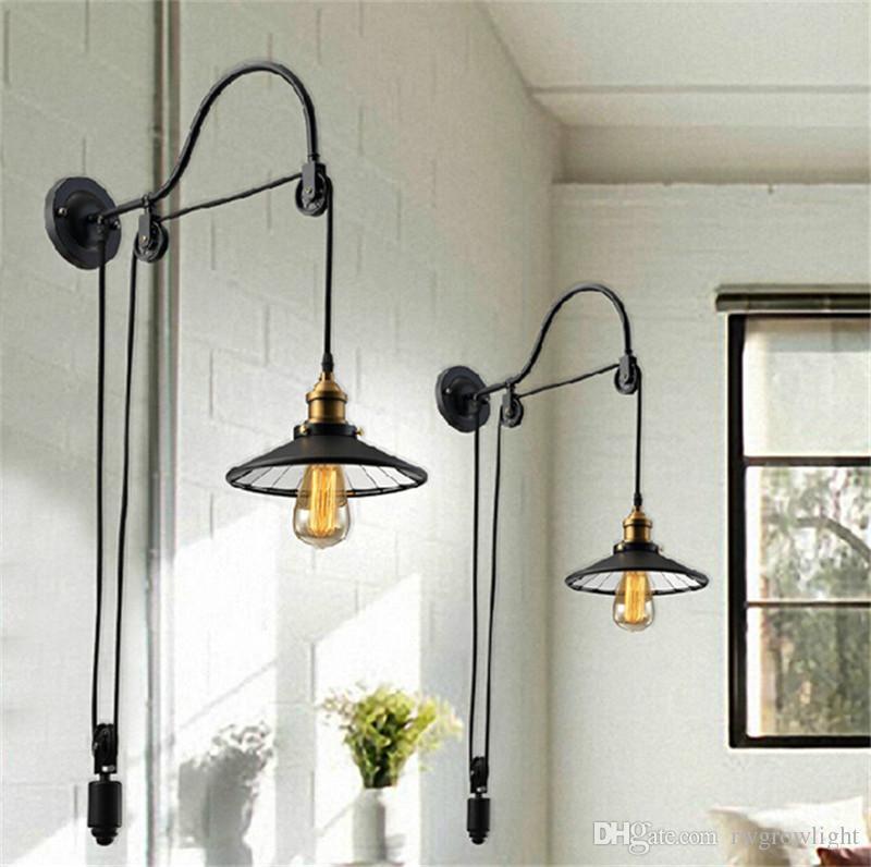Desván Vintage lámpara de pared de moda de iluminación antigua de estilo americano polea retráctil pared aplique de iluminación para escaleras de pasillo