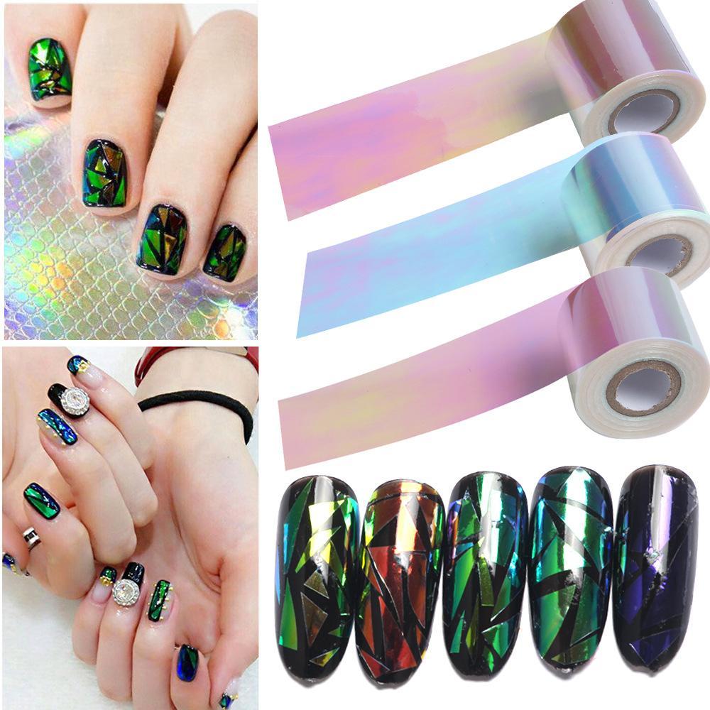 Nail Aurora Glue Glass Symphony Rollos de papel 100 metros * 5 cm 5 colores Manicure Star Paper Nail Beauty Tool