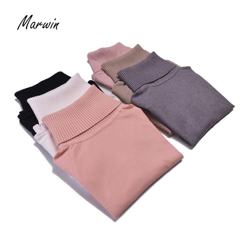 Marwin NewComing Thick Turtleneck Casual Warm Soft Pullovers Autumn Winter Knitted High Elasticity Solid Turn-Down Women Sweater