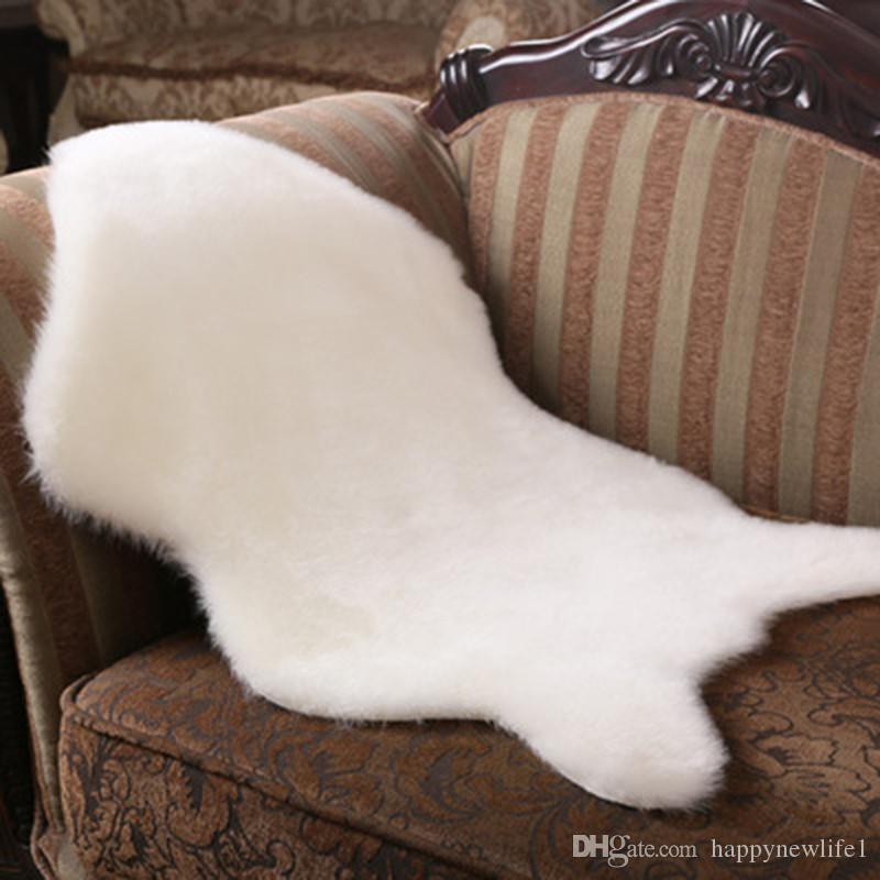 60x90 cm Artificial piel de oveja alfombra peluda para la sala de estar dormitorio alfombras piel de la piel llana mullidas área alfombras lavable dormitorio Faux Mat