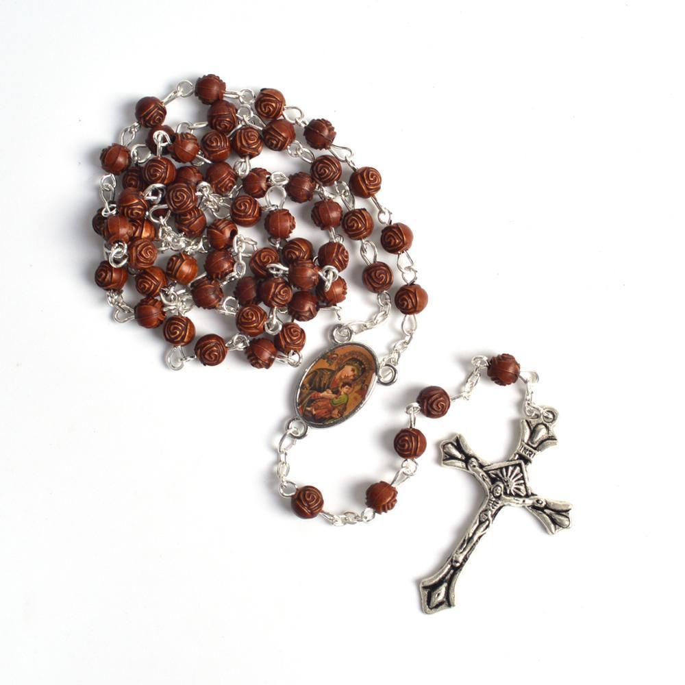 Na moda religiosa pequeno tamanho rosa forma acrílico grânulos Nossa Senhora do Perpétuo Socorro Rosário Colar
