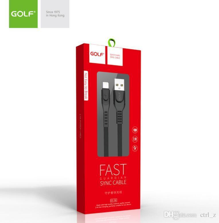 Sincronización de datos del cargador del cable 1m GOLF plana fideos alambre rápido 2.4a cuerda de carga del USB a micro USB S7 S6