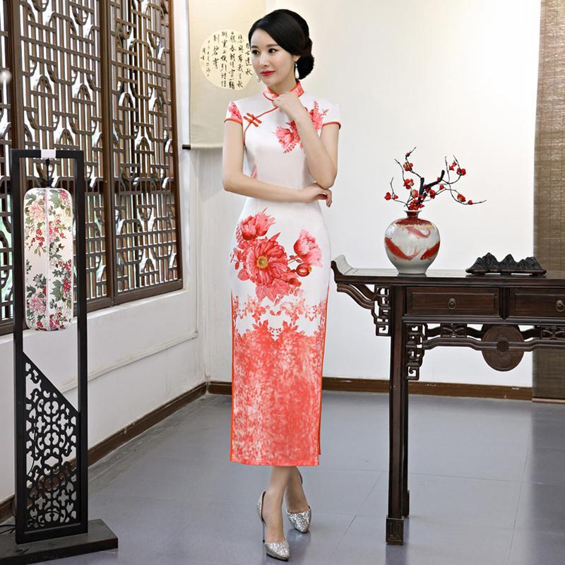 꽃 무늬 인쇄 중국어 번체 롱 드레스 현대 qipao 결혼식 cheongsam 슬림 피트 드레스 긴 소매 수정 된 여성 의류