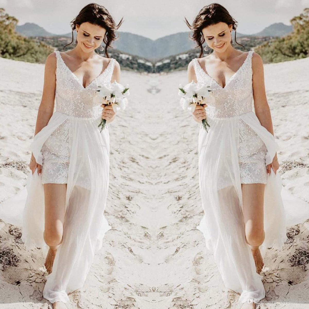 Sexy Beach Summer Lace Wedding Dresses For Maid Honor Bridesmaid Boho High Low Bridal Gowns Ideas Applique Backless Tulle Corset Wedding Affordable