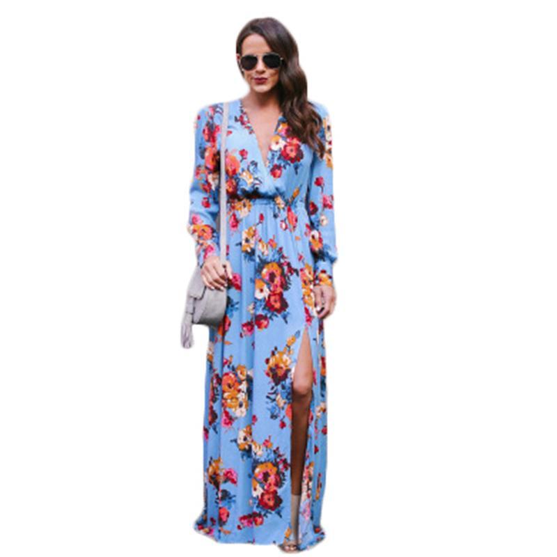 Nuevo vestido de gran tamaño de la primavera de las mujeres Vestido de estampado floral de la vendimia Europa largo del otoño de gran tamaño femenino largo J573