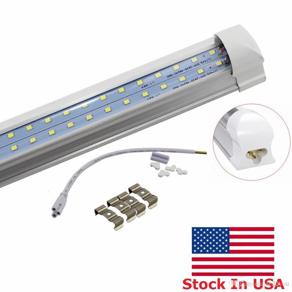 재고 US + 4피트 8피트 주도 튜브 72W 통합 T8 라이트 튜브 LED가 빛을 8피트 더블 사이드 384LEDs 6800 루멘 AC 110-240V