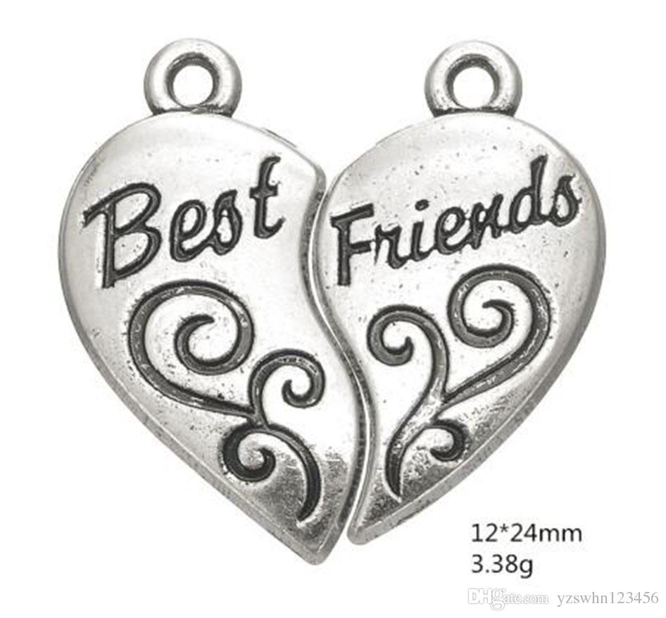 2021 plateado tibetano plateado mejor amigos roto corazón collar colgantes BFF encantos otras joyas personalizadas