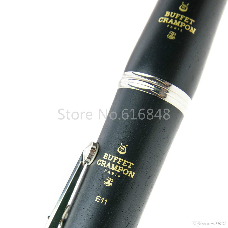 Yeni Varış BUFFET E11 17 Tuşları Bb Klarnet Yüksek Kalite Siyah Tüp Abanoz / Bakalit Klarnet Müzik Aletleri Durumda Ağızlık Ile