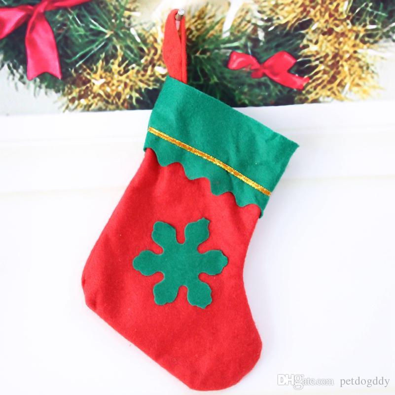 Nouvelle décoration d'arbre de Noël Mall Noël Étalage Accrocher Décorations Bas de Noël Mignon feutre Tissu Arbre de Noël Sock