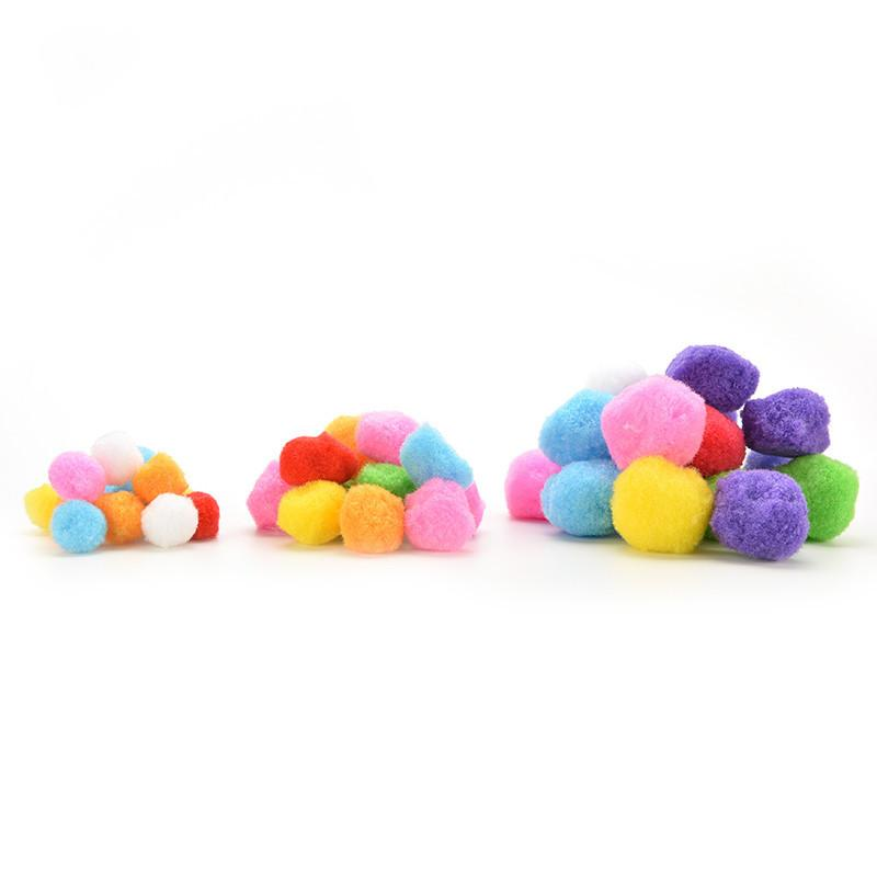 100 Pcs Assorted Mixed Colour Mini Fluffy Pompoms Pom Poms Ball Clothes Yarn Decor Christmas Party Supplies 20/30/40MM