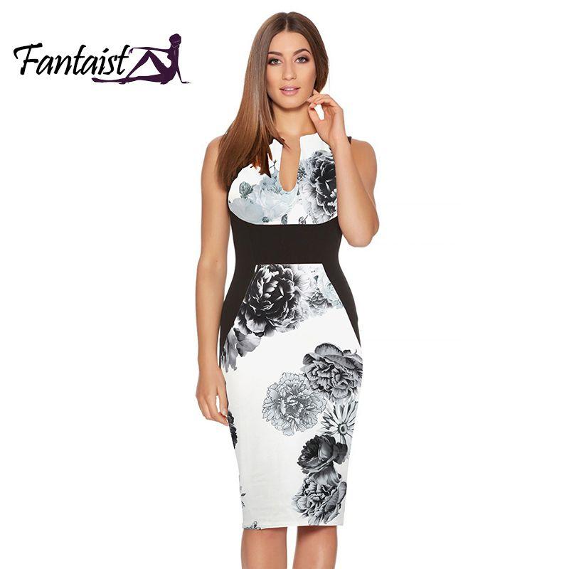 Fantaist 2017 vestido de verano traje de las mujeres vestidos mujer vintage elegante estampado floral patchwork sexy vestido de la envoltura del trabajo y18101601