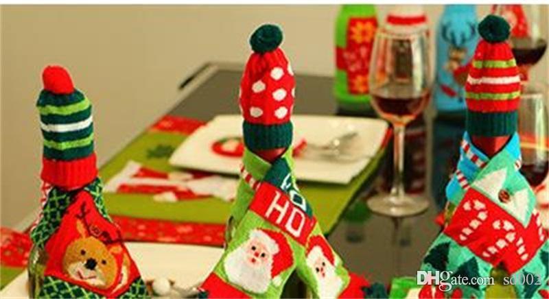 سانتا كلوز غطاء زجاجة النبيذ الزواج عيد الميلاد قبعة وشاح تزيين عقد حقيبة ثلج المنزل إمدادات حزب لطيف 3 7 سنتيمتر jj